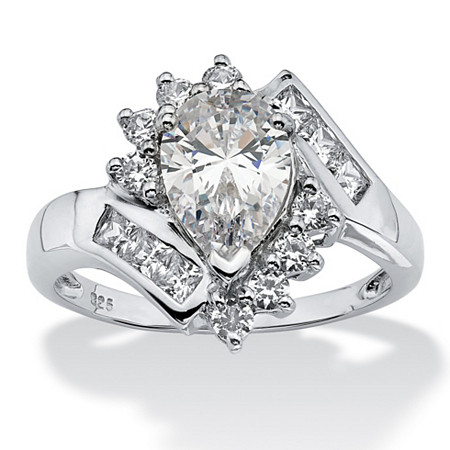 2.42 TCW Pear Cut Cubic Zirconia Platinum Over Sterling Silver Engagement Anniversary Ring