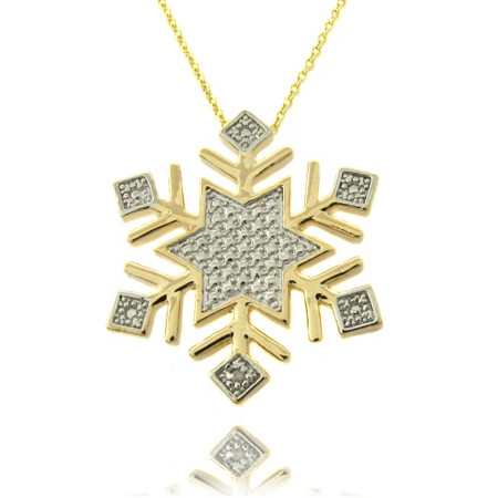 Tutone Snowflake Pave Pendant In 18K Gold-Plated