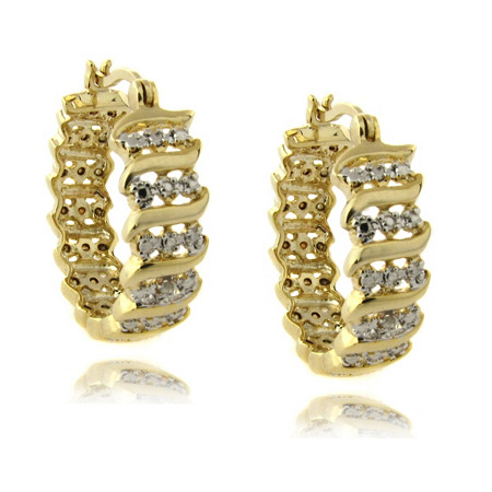 Diamond Accent S -Link Hoop Pierced Earrings In 18K Gold-Plated