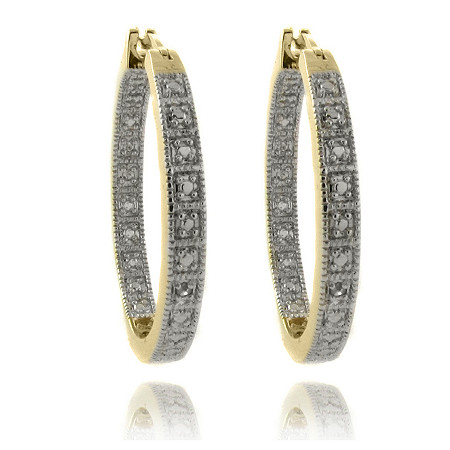 Diamond Accent Inside-Out Pave Hoop Pierced Earrings In 18K Gold-Plated