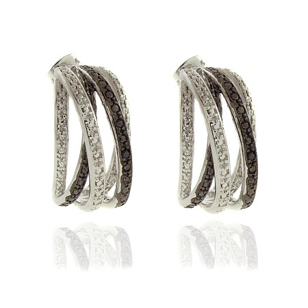 Black Diamond Accent Ribbon Crossover Pave Pierced Earrings In Black Ruthenium and Silvertone