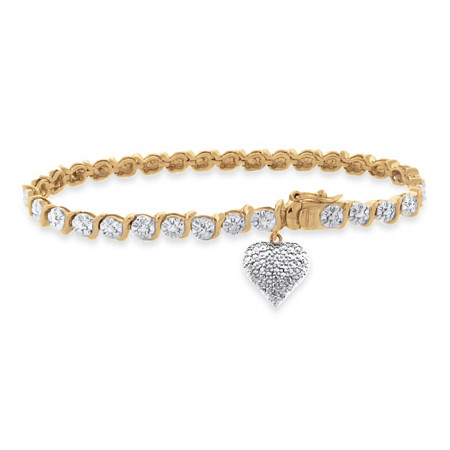 Tutone Diamond Accent S -Link Pave Heart Charm Bracelet In 18k Gold-Plated
