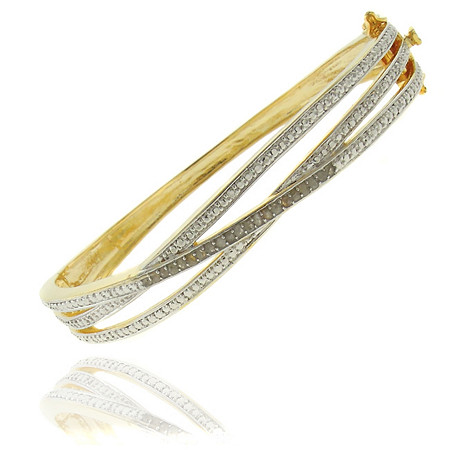 Tutone Diamond Crossover Pavé Bangle Bracelet in 18k Gold-Plated