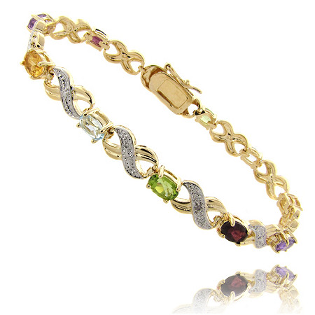 Multi-Color Semi-Precious Gemstone X & O Pavé Tennis Bracelet with Diamond Accent in 18k Gold-Plated
