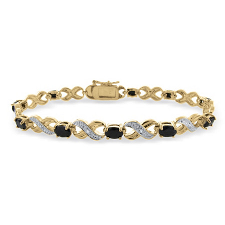 Blue Sapphire X & O Pave Tennis Bracelet With Diamond Accent In 18k Gold-Plated