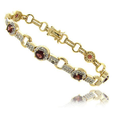 Garnet Circle-Link Pave Bracelet With Diamond Accent In 18k Gold-Plated