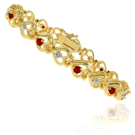 Ruby & Diamond Accent Heart-Link Bracelet in 18k Gold-Plated