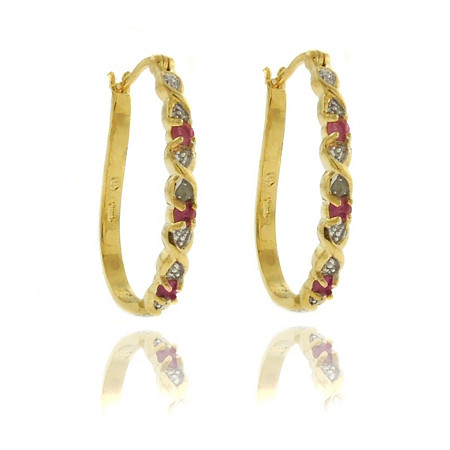 Ruby & Diamond Accent X & O Hoop Pierced Earrings in 18k Gold-Plated