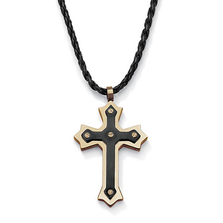 Stainless Steel Black and Gold ION-Plated Cross Pendant and Adjustable Cord Necklace 24 to 27
