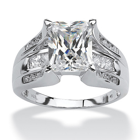 4.85 TCW Emerald-Cut Cubic Zirconia Platinum over Sterling Silver Bridal Engagement Ring