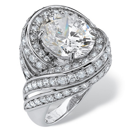 7.19 TCW Oval Cut Cubic Zirconia Swirl Cocktail Ring in Platinum over Sterling Silver