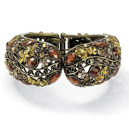 Multi-Colored Crystal Hinged Cuff Bracelet in Antiqued Yellow Gold Tone