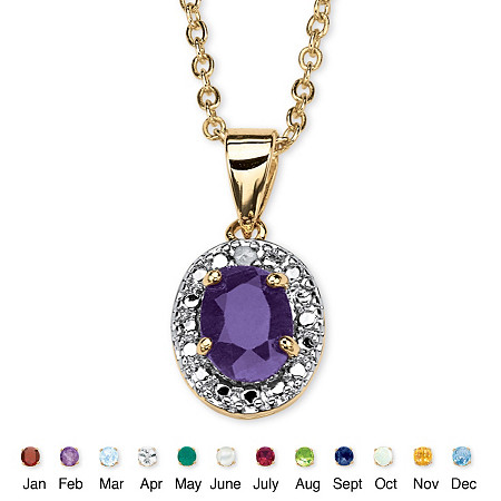 18k Yellow Gold-Plated Birthstone Drop Pendant 18