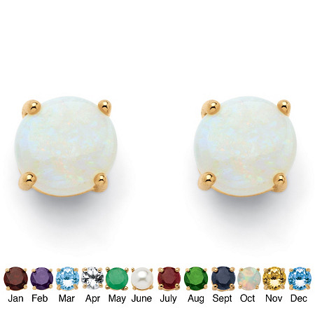 Round-Cut Genuine Birthstone 18k Yellow Gold-Plated Stud Earrings
