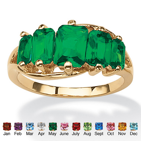 Emerald-Cut Simulated Birthstone 18k Yellow Gold Plated 5-Stone Ring