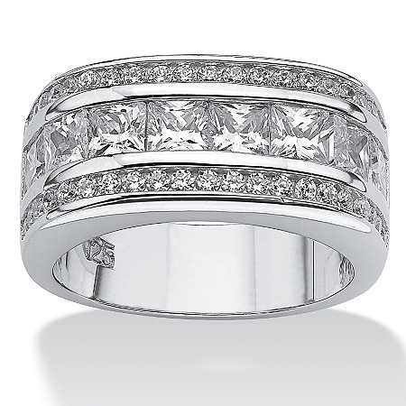 1.59 TCW Round Cubic Zirconia Platinum Over Sterling Sliver Squared Band