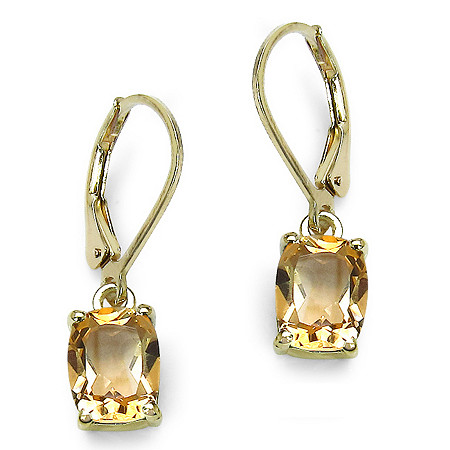 3.60 CT TW Octagon-Cut Citrine Drop Pierced Earrings in 14k Gold over Sterling Silver