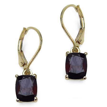4 CT TW Octagon-Cut Garnet Drop Pierced Earrings in 14k Gold over Sterling Silver