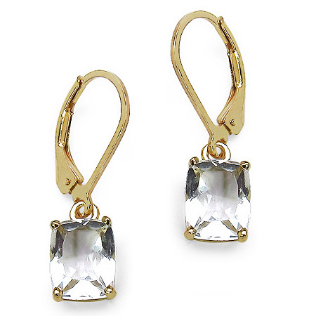 Octagon-Cut White Crystal Drop Pierced Earrings in 14k Gold over Sterling Silver