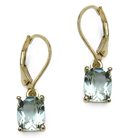 3.60 CT TW Octagon-Cut Green Amethyst Drop Pierced Earrings in 14k Gold over Sterling Silver