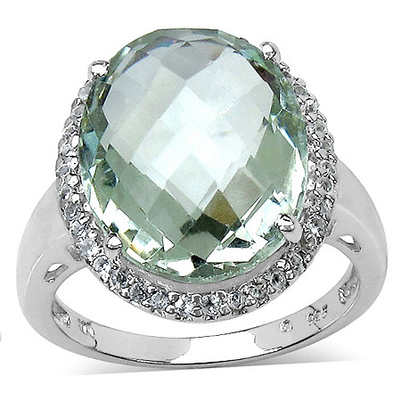 9.38 CT TW Oval-Cut Green Amethyst and White Topaz Ring in Platinum over Sterling Silver