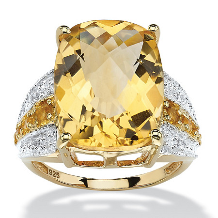 9.96 CT TW Octagon-Cut Citrine and White Topaz Ring in 14k Gold over Sterling Silver