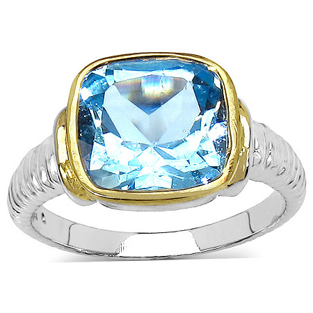 5.40 CT TW Cushion-Cut Blue Topaz Ring in Sterling Silver and 14k Gold over Sterling Silver