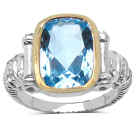 7.76 CT TW Cushion-Cut Blue Topaz Ring in Sterling Silver and 14k Gold over Sterling Silver