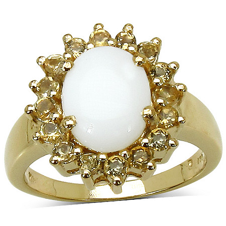 .64 CT TW Citrine and Opal Ring in 14k Gold over Sterling Silver
