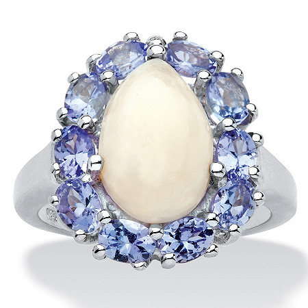 1.20 CT TW Tanzanite and Opal Ring in Platinum over Sterling Silver
