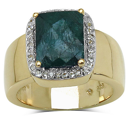 2.52 CT TW Cushion-Cut Emerald and White Topaz Ring in 14k Gold over Sterling Silver
