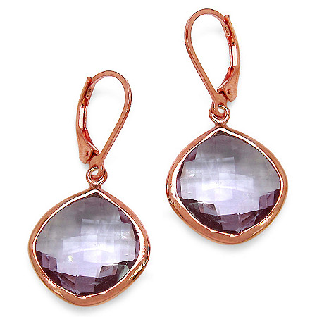 21.06 CT TW Cushion-Cut Pink Amethyst Drop Pierced Earrings in 14k Gold over Sterling Silver