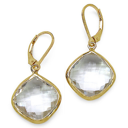 Cushion-Cut White Quartz Drop Pierced Earrings in 14k Gold over Sterling Silver