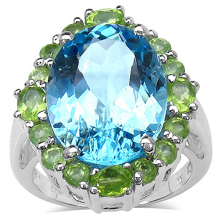 13.62 CT TW Oval-Cut Blue Topaz and Peridot Ring in Platinum over Sterling Silver
