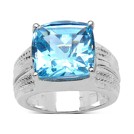 6.40 CT TW Cushion-Cut Swiss Blue Topaz Ring in Platinum over Sterling Silver