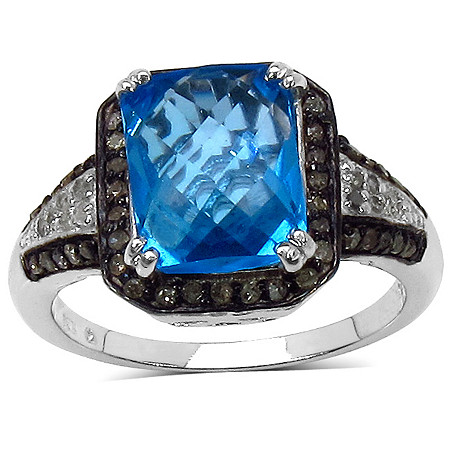 4.10 CT TW Multi-Faceted Swiss Blue Topaz and 1/3 CT TW Brown and White Diamond Ring in Sterling Silver