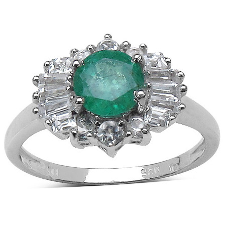 .80 Carat Round Emerald and .84 TCW White Topaz Accent Ring in Platinum over Sterling Silver