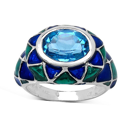 1.35 CT TW Oval-Cut Swiss Blue Topaz and Enamel Ring in Sterling Silver