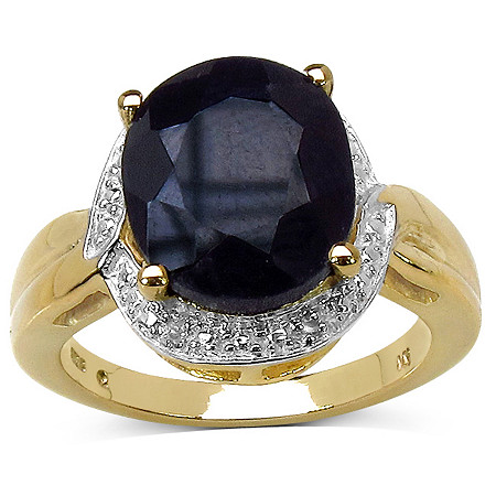 6 CT TW Oval-Cut Sapphire and 1/5 CT TW Diamond Ring in 14k Gold over Sterling Silver