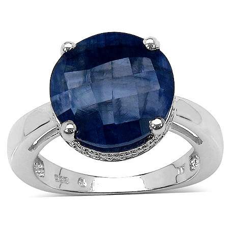 8.50 CT TW Round Checkerboard-Cut Sapphire Solitaire Ring in Platinum over Sterling Silver