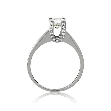.57 CTW Round Cubic Zirconia Ring in Sterling Silver