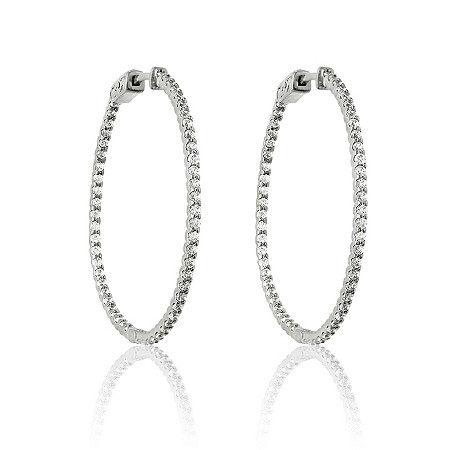 2.20 CTW Cubic Zirconia Inside-Out Hoop Pierced Earrings in Sterling Silver