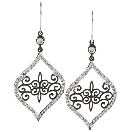 2.21 CTW Round Cubic Zirconia Openwork Free-Form Drop Pierced Earrings in Sterling Silver