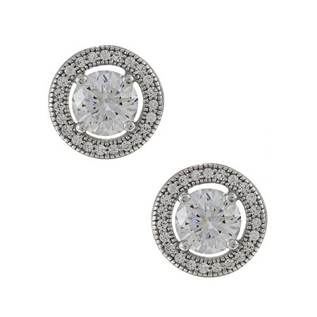 1.93 CTW Round Cubic Zirconia Stud Pierced Earrings in Sterling Silver