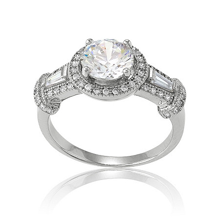 1.78 TCW Round Cubic Zirconia Ring in Sterling Silver.