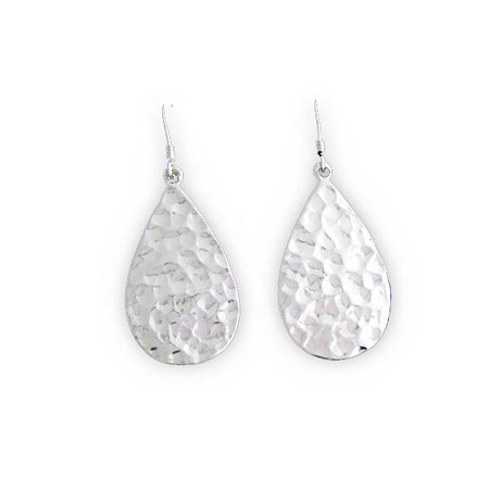 Pear-Shaped Hammered-Style Drop Pierced Earrings in Sterling Silver