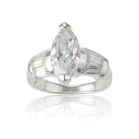 3.25 Marquise-Cut Cubic Zirconia Ring in Sterling Silver