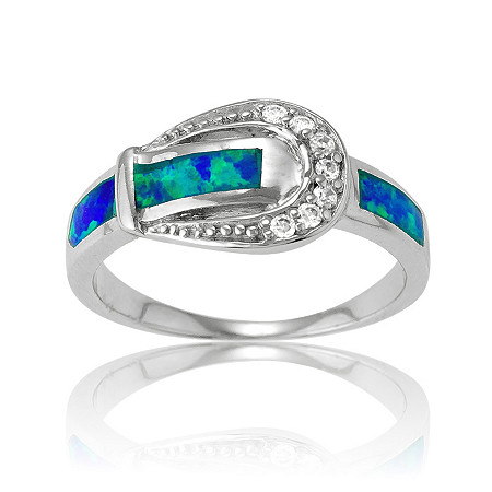 1.27 CTW Cubic Zirconia and Inlaid Lab-Created Opal Belt Buckle Ring in Sterling Silver