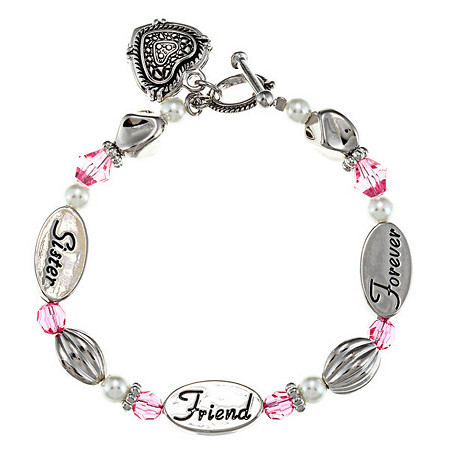 Pink Crystal and Simulated Pearl Sister Friend Forever Heart Charm Bracelet in Silvertone