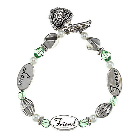 Green Crystal and Simulated Pearl Inspirational Friend Heart Charm Bracelet in Silvertone